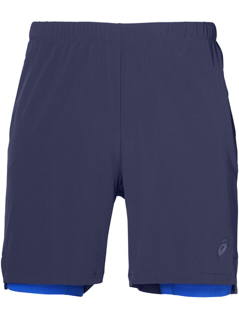 "asics 2-N-1 7"" Shorts Men Indigo Blue/Illusion Blue"